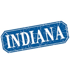Indiana blue square grunge retro style sign vector