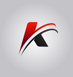 Initial k letter logo with swoosh colored red and vector