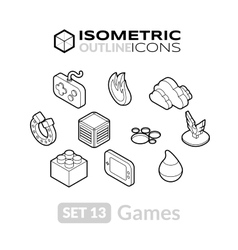 isometric outline icons set 13 vector image