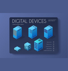 isometric set of a computer vector image