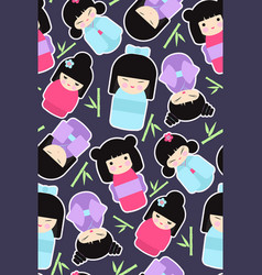 kokeshi dolls seamless pattern vector image