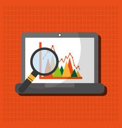 laptop search graph statistics analytics vector image