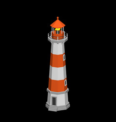 lighthouse isolated on black background 3d vector image