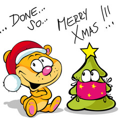 merry covid19 christmas with cute bear and vector image