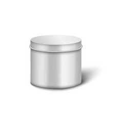 metal cylinder jar mockup with round lid and vector image