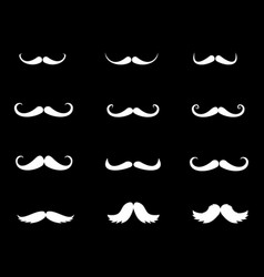 Moustache icons set of whiskers vector