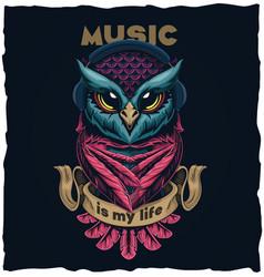 Musical owl tshirt design vector