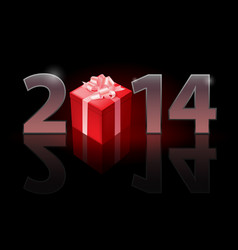 New year 2014 metal numerals with gift box vector
