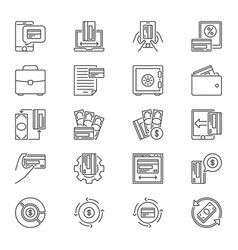 online shopping and payment outline icons vector image