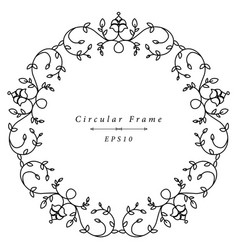 ornamental antique frame in circular shape vector image