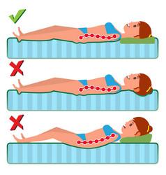 orthopedic mattress sleeping position vector image