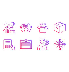 Package packing boxes and valet servant icons set vector