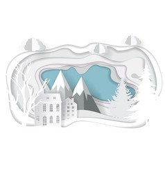 paper art christmas template vector image