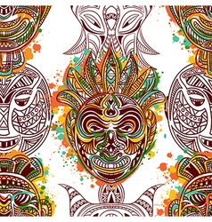 Pattern with african tribal mask vector