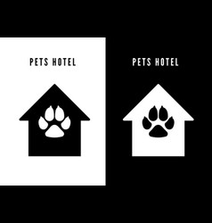 pet hotel icon black house with dog footprint vector image