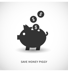 Piggy bank and coins icons vector image