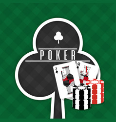 poker sign club cards and chips gamble green vector image