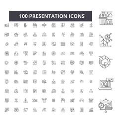 presentation editable line icons 100 set vector image