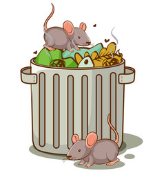 rats and trash on white background vector image