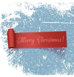 Realistic curved red Ribbon Merry Christmas vector image