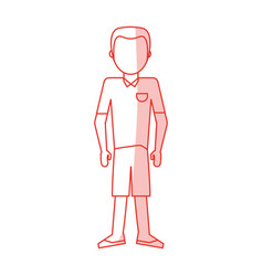 red silhouette shading caricature faceles body man vector image