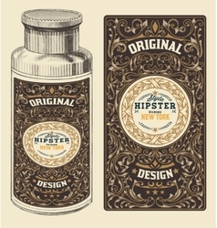 Retro design with Bottleand Floral Elements vector image