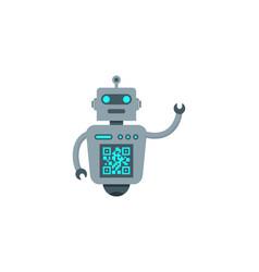 Robot barcode logo icon design vector