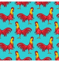 Rooster seamless pattern vector image