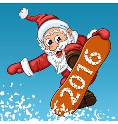 Santa claus makes jump on snowboard vector