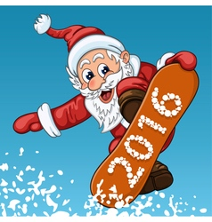 Santa Claus makes jump on the snowboard vector
