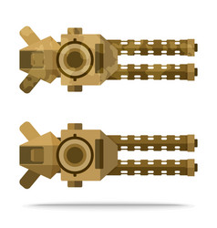 Set dual sand color flat airship heavy weapon vector