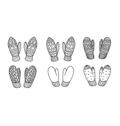 Set knitted mittens in doodle style vector