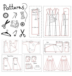 Set of patterns of women clothes and sewing vector