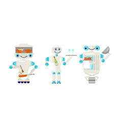 set of robot waiter and cook in flat style vector image