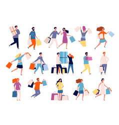 shopping characters people in market boutique vector image