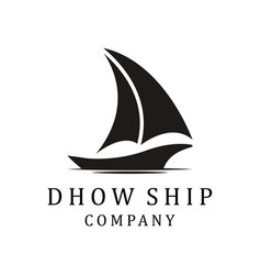 silhouette dhow logo design dhow or ship logo vector image