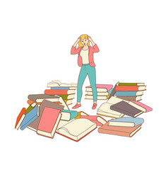 Sketch stressed exhausted woman with books vector