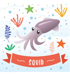 squid animal cartoon character vector image