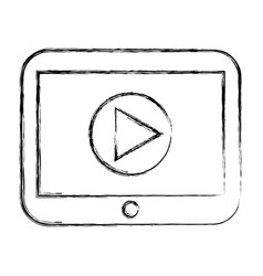 tablet with player button vector image
