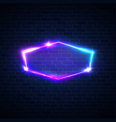 Techno glow neon frame on dark brick texture wall vector