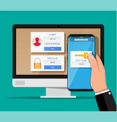 two steps authentication concept vector image