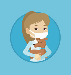 veterinarian with dog in hands vector image