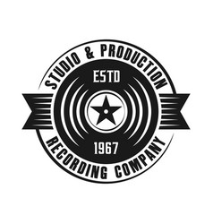 Vinyl music emblem isolated on white background vector