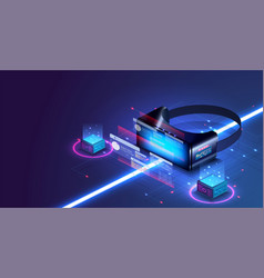 vr technology concept virtual reality isometric vector image
