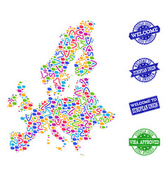 Welcome collage of mosaic map of euro union and vector