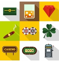 Win icons set flat style vector