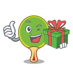 With gift ping pong racket mascot cartoon vector
