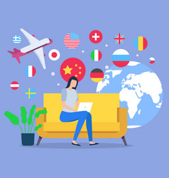 woman plan vacation to another country on plane vector image