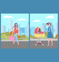 Woman with perambulator in city kid and mother vector