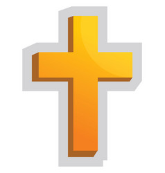 yellow christian cross on a white background vector image